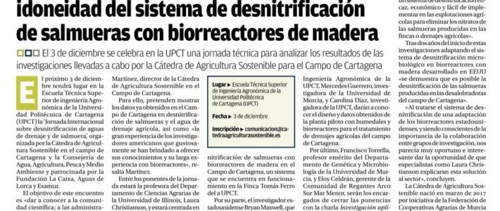 El Diario La Opinión de Murcia publica en su edición impresa un artículo sobre la jornada técnica del 3 de diciembre